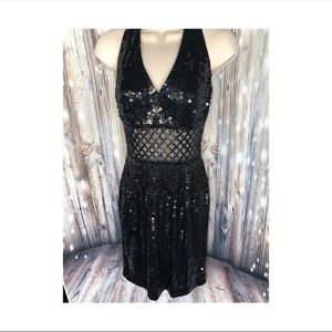 Vintage Nite Line Sequined and Beaded Dress
